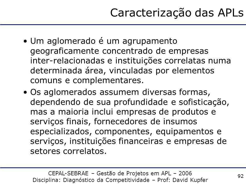 CEPAL-SEBRAE – Gestão de Projetos em APL – 2006 Disciplina: Diagnóstico da Competitividade – Prof: David Kupfer 91 IV. Competitividade em APLs
