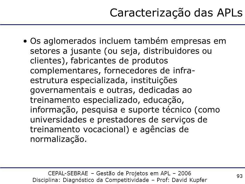 CEPAL-SEBRAE – Gestão de Projetos em APL – 2006 Disciplina: Diagnóstico da Competitividade – Prof: David Kupfer 92 Caracterização das APLs Um aglomera