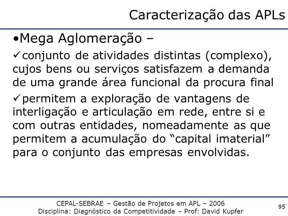 CEPAL-SEBRAE – Gestão de Projetos em APL – 2006 Disciplina: Diagnóstico da Competitividade – Prof: David Kupfer 94 Caracterização das APLs Órgãos gove