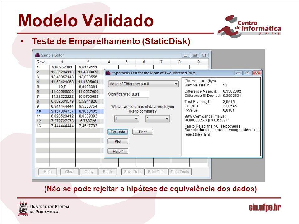 Teste de Emparelhamento (StaticDisk) (Não se pode rejeitar a hipótese de equivalência dos dados)