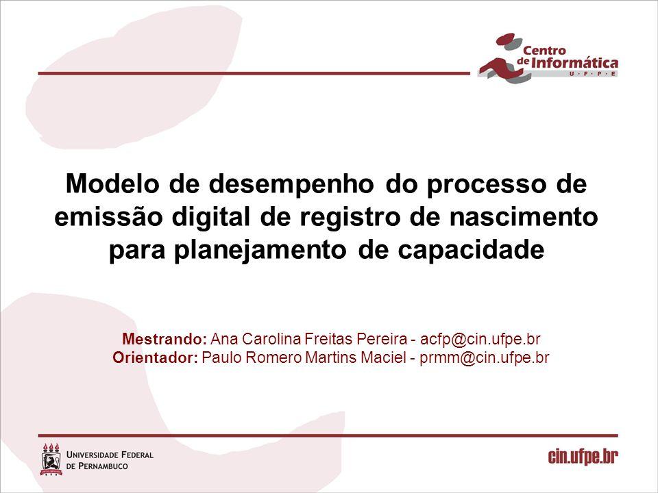 Mestrando: Ana Carolina Freitas Pereira - acfp@cin.ufpe.br Orientador: Paulo Romero Martins Maciel - prmm@cin.ufpe.br Modelo de desempenho do processo de emissão digital de registro de nascimento para planejamento de capacidade