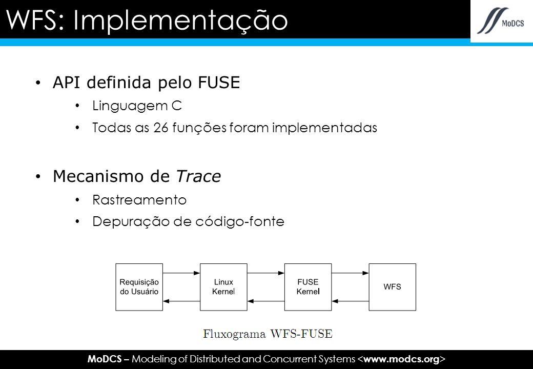 MoDCS – Modeling of Distributed and Concurrent Systems API definida pelo FUSE Linguagem C Todas as 26 funções foram implementadas Mecanismo de Trace Rastreamento Depuração de código-fonte WFS: Implementação