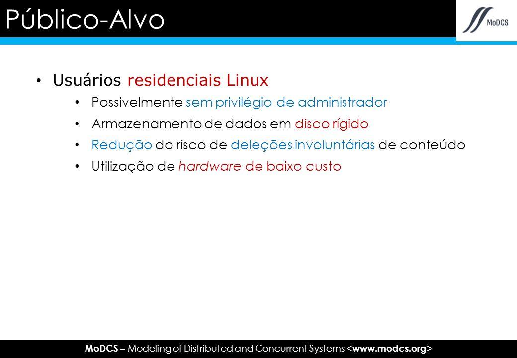 MoDCS – Modeling of Distributed and Concurrent Systems Usuários residenciais Linux Possivelmente sem privilégio de administrador Armazenamento de dados em disco rígido Redução do risco de deleções involuntárias de conteúdo Utilização de hardware de baixo custo Público-Alvo