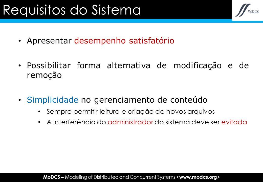 MoDCS – Modeling of Distributed and Concurrent Systems Apresentar desempenho satisfatório Possibilitar forma alternativa de modificação e de remoção Simplicidade no gerenciamento de conteúdo Sempre permitir leitura e criação de novos arquivos A interferência do administrador do sistema deve ser evitada Requisitos do Sistema
