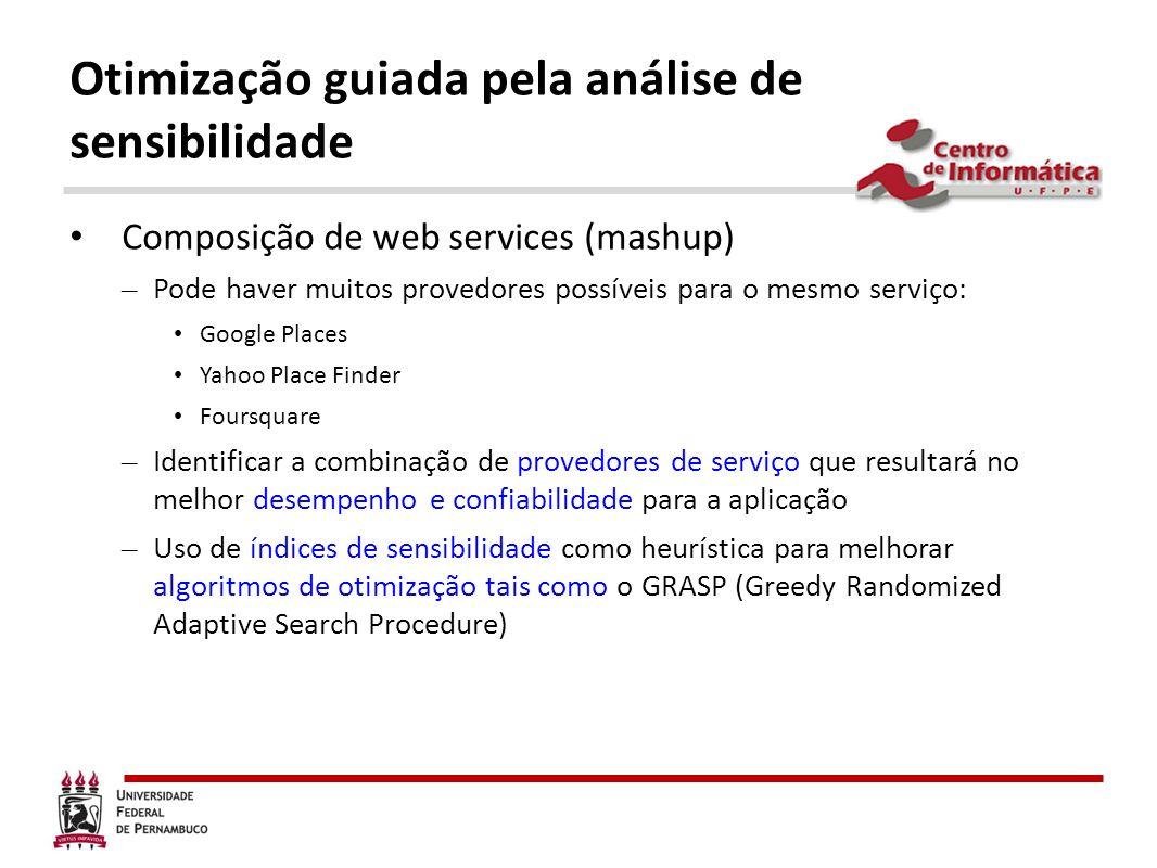 Otimização guiada pela análise de sensibilidade Composição de web services (mashup) – Pode haver muitos provedores possíveis para o mesmo serviço: Goo