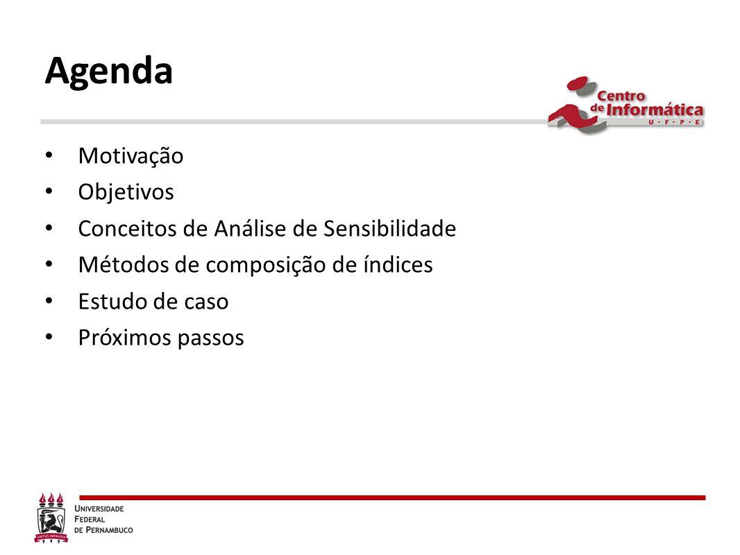 Agenda Motivação Objetivos Conceitos de Análise de Sensibilidade Métodos de composição de índices Estudo de caso Próximos passos