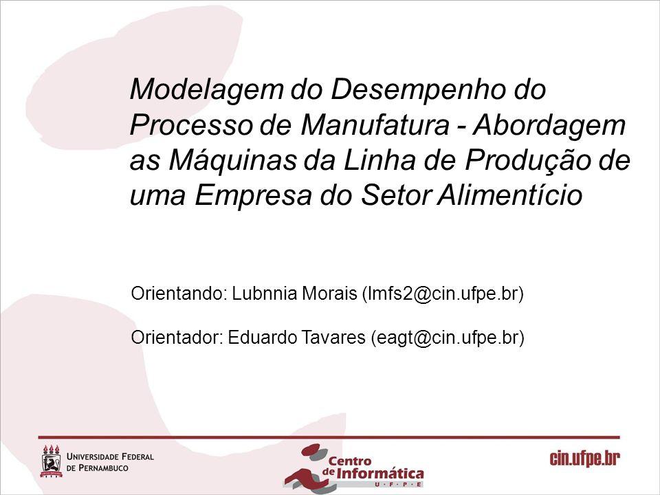 Modelagem do Desempenho do Processo de Manufatura - Abordagem as Máquinas da Linha de Produção de uma Empresa do Setor Alimentício Orientando: Lubnnia