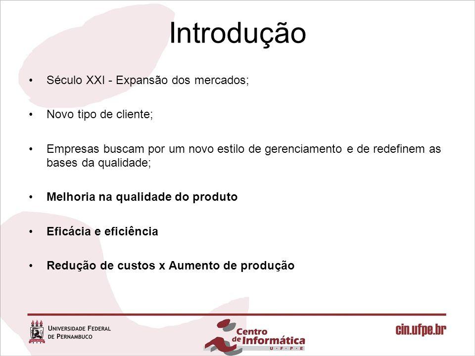Introdução Século XXI - Expansão dos mercados; Novo tipo de cliente; Empresas buscam por um novo estilo de gerenciamento e de redefinem as bases da qu