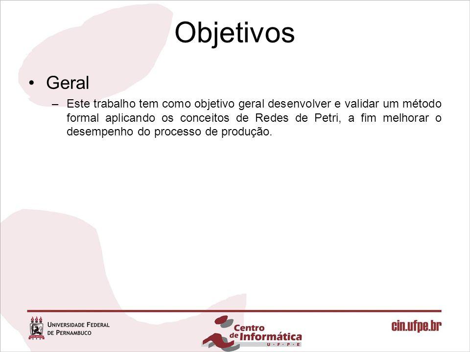 Objetivos Geral –Este trabalho tem como objetivo geral desenvolver e validar um método formal aplicando os conceitos de Redes de Petri, a fim melhorar