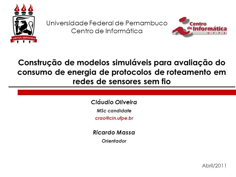 Construção de modelos simuláveis para avaliação do consumo de energia de protocolos de roteamento em redes de sensores sem fio Cláudio Oliveira MSc ca