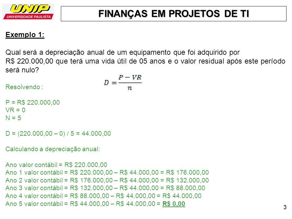 FINANÇAS EM PROJETOS DE TI 3 Exemplo 1: Qual será a depreciação anual de um equipamento que foi adquirido por R$ 220.000,00 que terá uma vida útil de