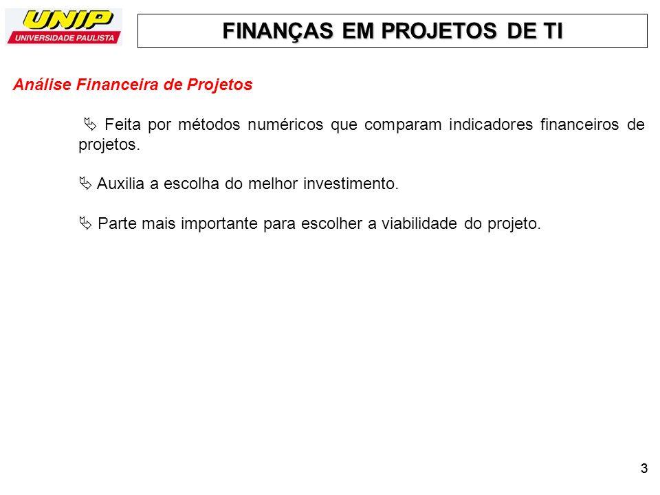 FINANÇAS EM PROJETOS DE TI 33 Análise Financeira de Projetos Feita por métodos numéricos que comparam indicadores financeiros de projetos. Auxilia a e