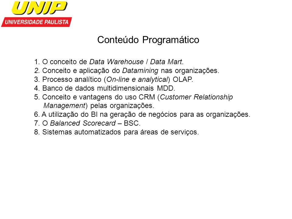Conteúdo Programático 1. O conceito de Data Warehouse / Data Mart. 2. Conceito e aplicação do Datamining nas organizações. 3. Processo analítico (On-l