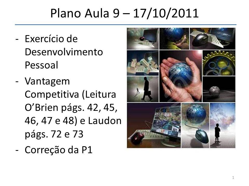 Plano Aula 9 – 17/10/2011 -Exercício de Desenvolvimento Pessoal -Vantagem Competitiva (Leitura OBrien págs. 42, 45, 46, 47 e 48) e Laudon págs. 72 e 7