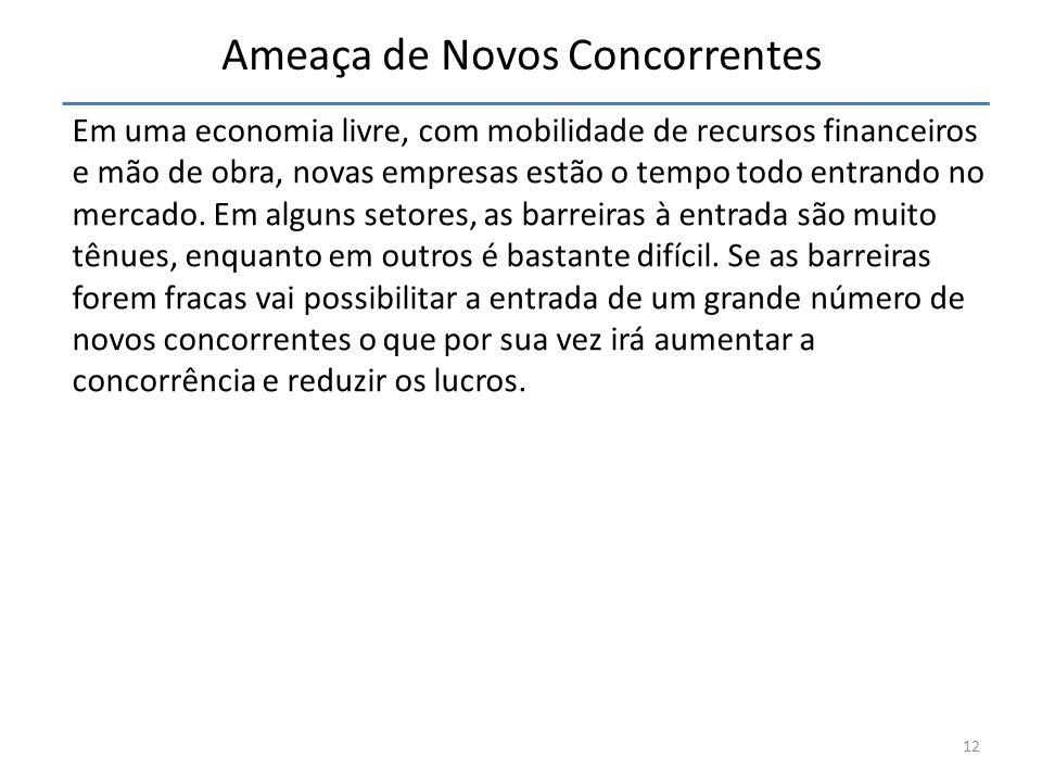 Ameaça de Novos Concorrentes Em uma economia livre, com mobilidade de recursos financeiros e mão de obra, novas empresas estão o tempo todo entrando n