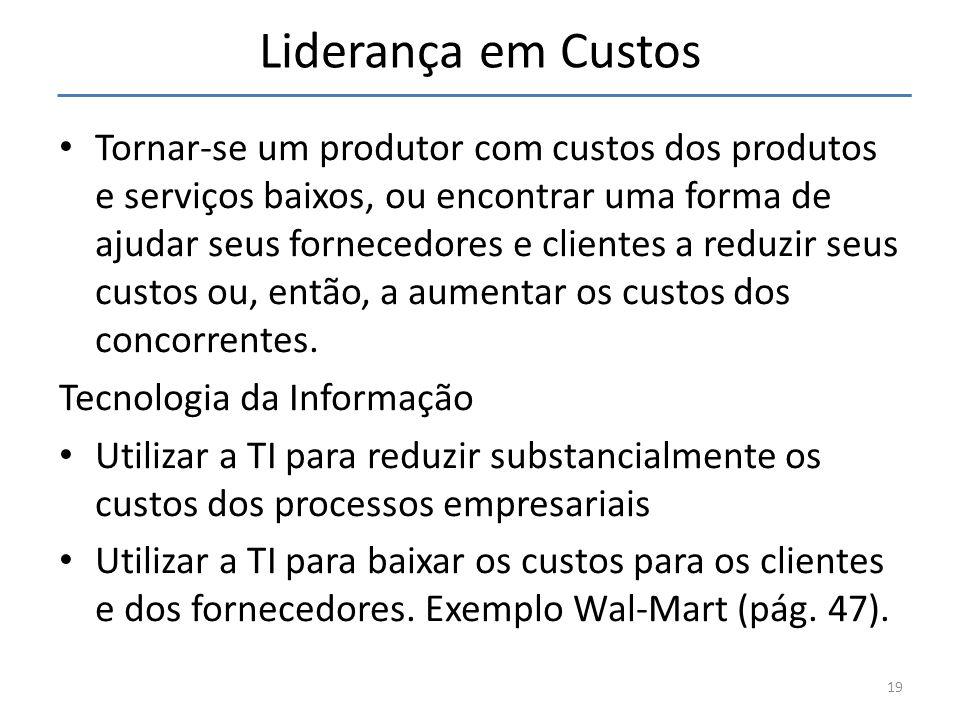 Liderança em Custos Tornar-se um produtor com custos dos produtos e serviços baixos, ou encontrar uma forma de ajudar seus fornecedores e clientes a r