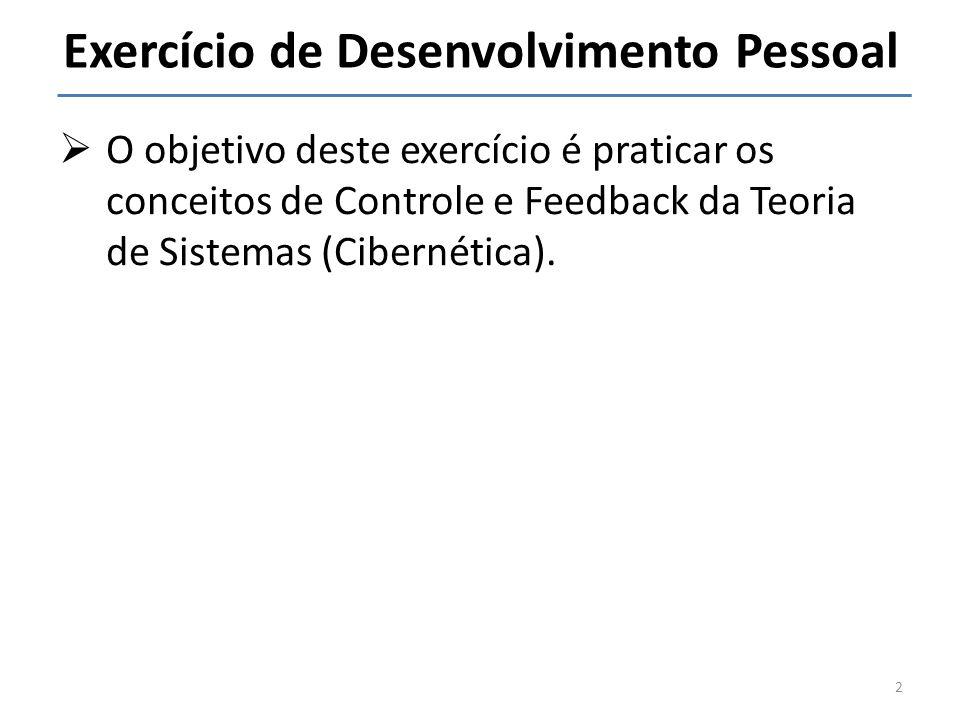 Exercício de Desenvolvimento Pessoal O objetivo deste exercício é praticar os conceitos de Controle e Feedback da Teoria de Sistemas (Cibernética). 2