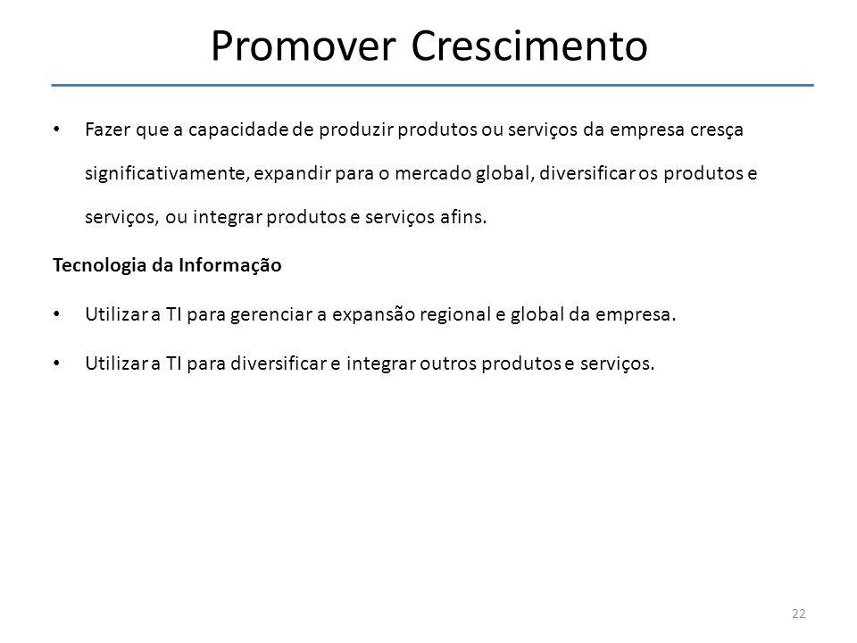 Promover Crescimento Fazer que a capacidade de produzir produtos ou serviços da empresa cresça significativamente, expandir para o mercado global, div