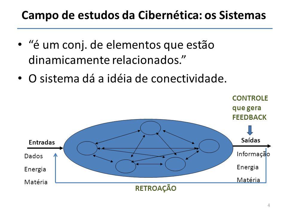 Campo de estudos da Cibernética: os Sistemas é um conj. de elementos que estão dinamicamente relacionados. O sistema dá a idéia de conectividade. Entr