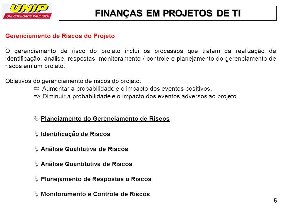 FINANÇAS EM PROJETOS DE TI 6666 - O Plano de Gerenciamento de Riscos faz parte ou é um plano auxiliar do Plano de Gerenciamento do Projeto.