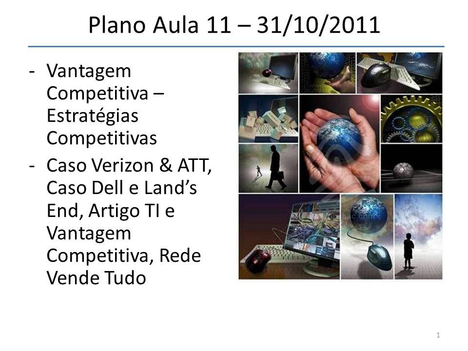 Plano Aula 11 – 31/10/2011 -Vantagem Competitiva – Estratégias Competitivas -Caso Verizon & ATT, Caso Dell e Lands End, Artigo TI e Vantagem Competiti