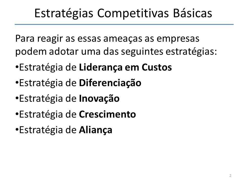 Estratégias Competitivas Básicas Para reagir as essas ameaças as empresas podem adotar uma das seguintes estratégias: Estratégia de Liderança em Custo