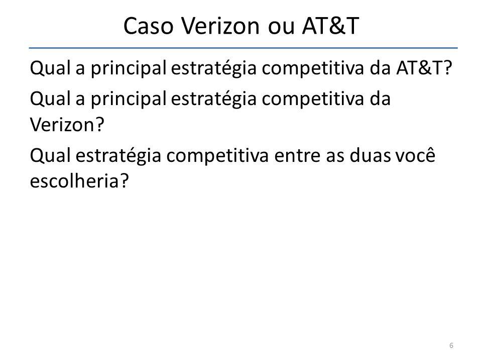 Caso Verizon ou AT&T Qual a principal estratégia competitiva da AT&T? Qual a principal estratégia competitiva da Verizon? Qual estratégia competitiva