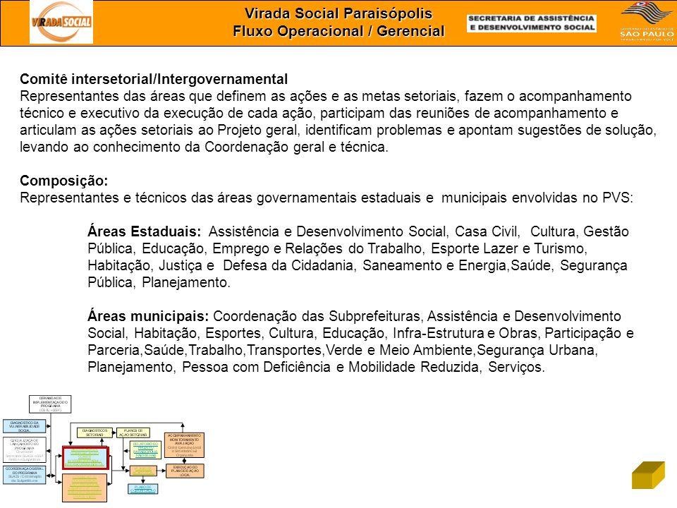 Virada Social Paraisópolis Fluxo Operacional / Gerencial Comitê intersetorial/Intergovernamental Representantes das áreas que definem as ações e as me