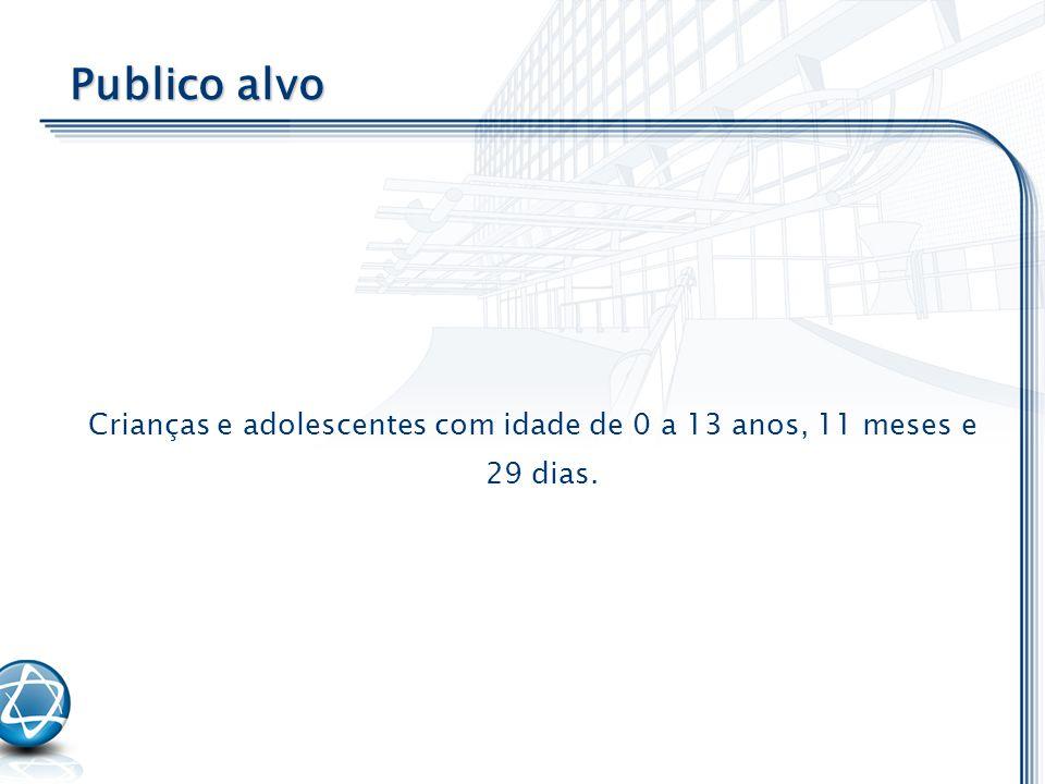 Crianças e adolescentes com idade de 0 a 13 anos, 11 meses e 29 dias. Publico alvo
