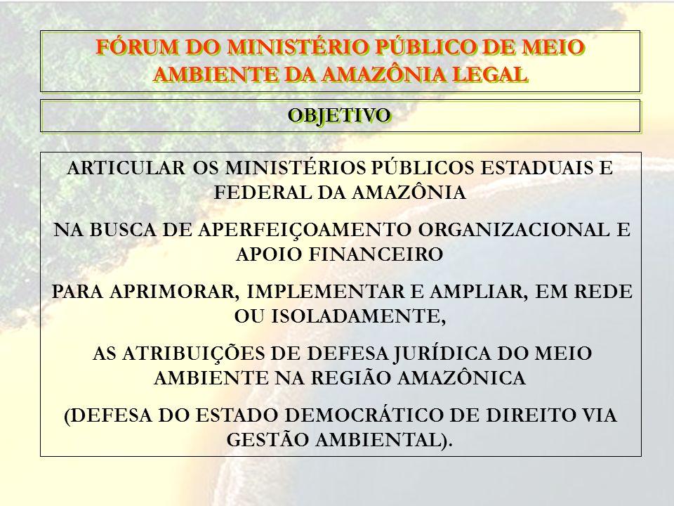 ARTICULAR OS MINISTÉRIOS PÚBLICOS ESTADUAIS E FEDERAL DA AMAZÔNIA NA BUSCA DE APERFEIÇOAMENTO ORGANIZACIONAL E APOIO FINANCEIRO PARA APRIMORAR, IMPLEM