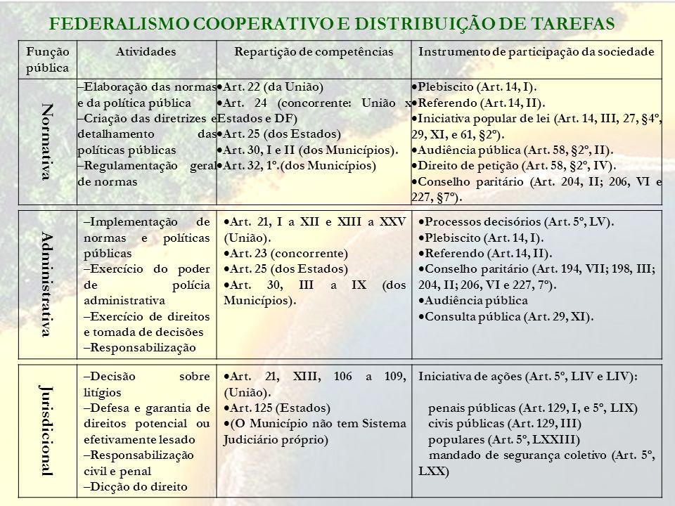 Função pública AtividadesRepartição de competênciasInstrumento de participação da sociedade Normativa – Elaboração das normas e da política pública –