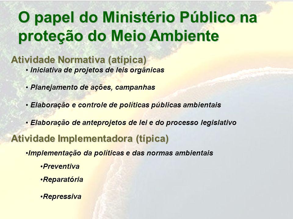O papel do Ministério Público na proteção do Meio Ambiente Atividade Normativa (atípica) Iniciativa de projetos de leis orgânicas Planejamento de açõe