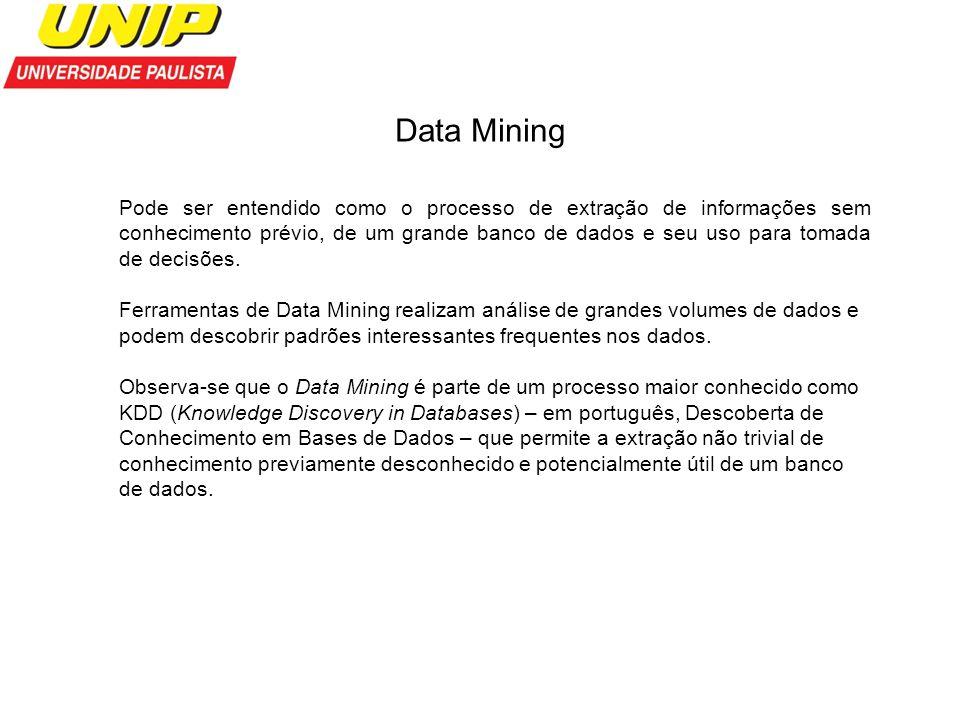 Data Mining Pode ser entendido como o processo de extração de informações sem conhecimento prévio, de um grande banco de dados e seu uso para tomada d