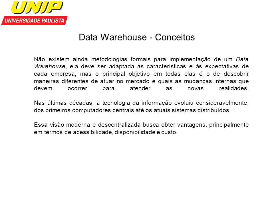 Data Warehouse - Conceitos Não existem ainda metodologias formais para implementação de um Data Warehouse, ela deve ser adaptada às características e