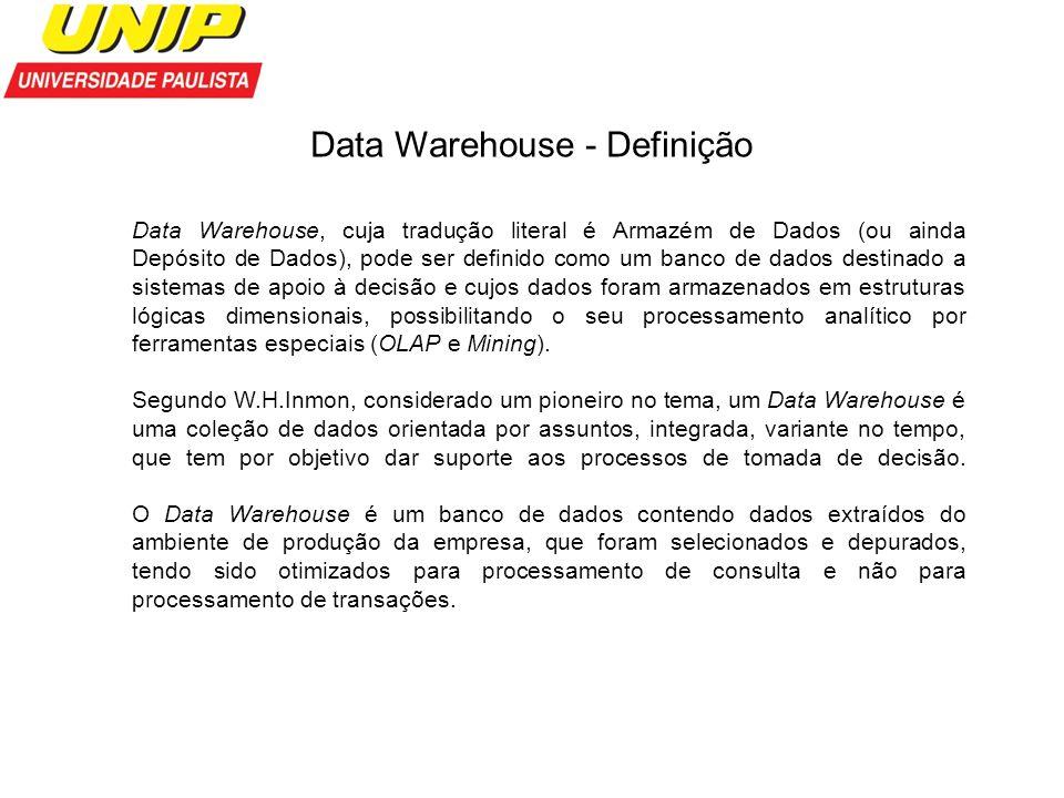 Data Warehouse - Definição Data Warehouse, cuja tradução literal é Armazém de Dados (ou ainda Depósito de Dados), pode ser definido como um banco de d