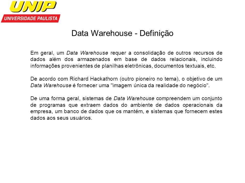 Data Warehouse - Definição Em geral, um Data Warehouse requer a consolidação de outros recursos de dados além dos armazenados em base de dados relacio