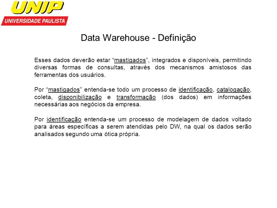 Data Warehouse - Definição Esses dados deverão estar mastigados, integrados e disponíveis, permitindo diversas formas de consultas, através dos mecani