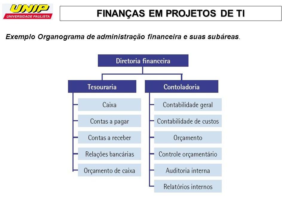 FINANÇAS EM PROJETOS DE TI Exemplo Organograma de administração financeira e suas subáreas.