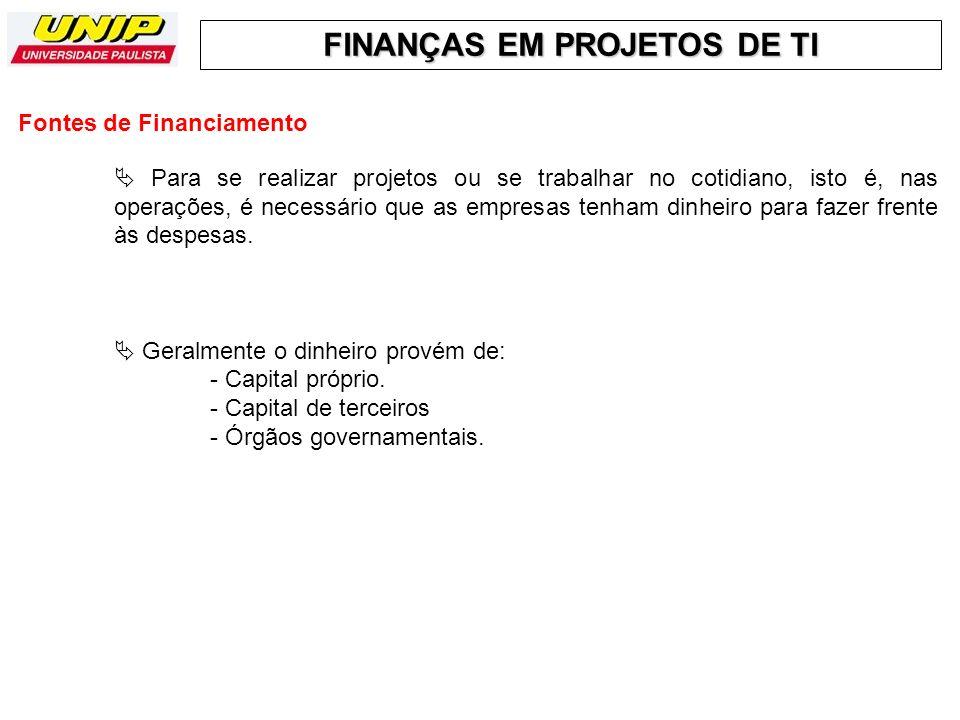 FINANÇAS EM PROJETOS DE TI - Capital Próprio.