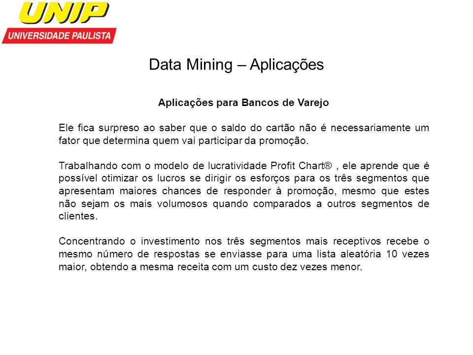 Data Mining – Aplicações Aplicações para Bancos de Varejo Ele fica surpreso ao saber que o saldo do cartão não é necessariamente um fator que determin