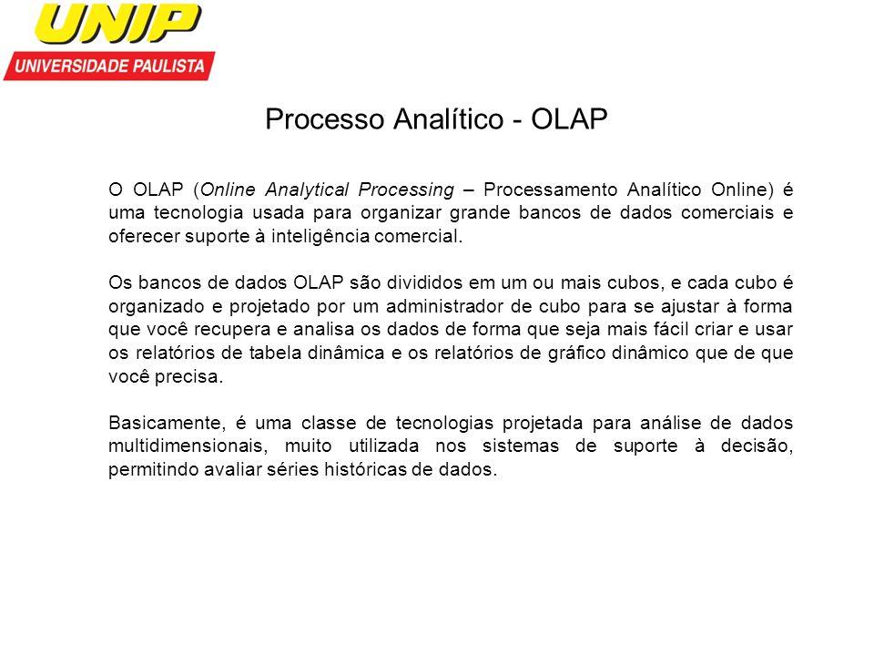 Processo Analítico - OLAP O OLAP (Online Analytical Processing – Processamento Analítico Online) é uma tecnologia usada para organizar grande bancos d