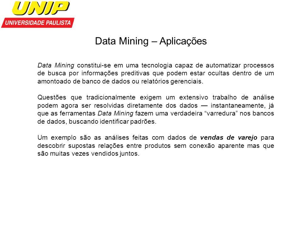 Data Mining – Aplicações Data Mining constitui-se em uma tecnologia capaz de automatizar processos de busca por informações preditivas que podem estar