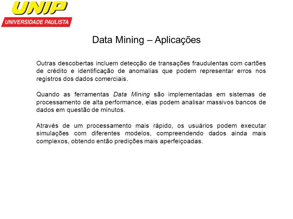Data Mining – Aplicações Outras descobertas incluem detecção de transações fraudulentas com cartões de crédito e identificação de anomalias que podem