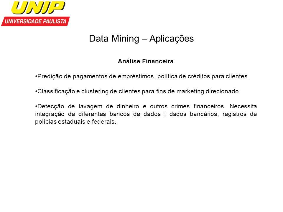 Data Mining – Aplicações Análise Financeira Predição de pagamentos de empréstimos, política de créditos para clientes. Classificação e clustering de c