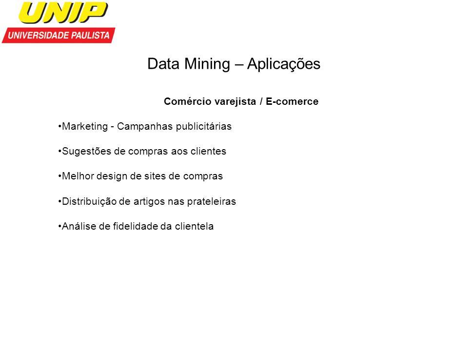 Data Mining – Aplicações Comércio varejista / E-comerce Marketing - Campanhas publicitárias Sugestões de compras aos clientes Melhor design de sites d