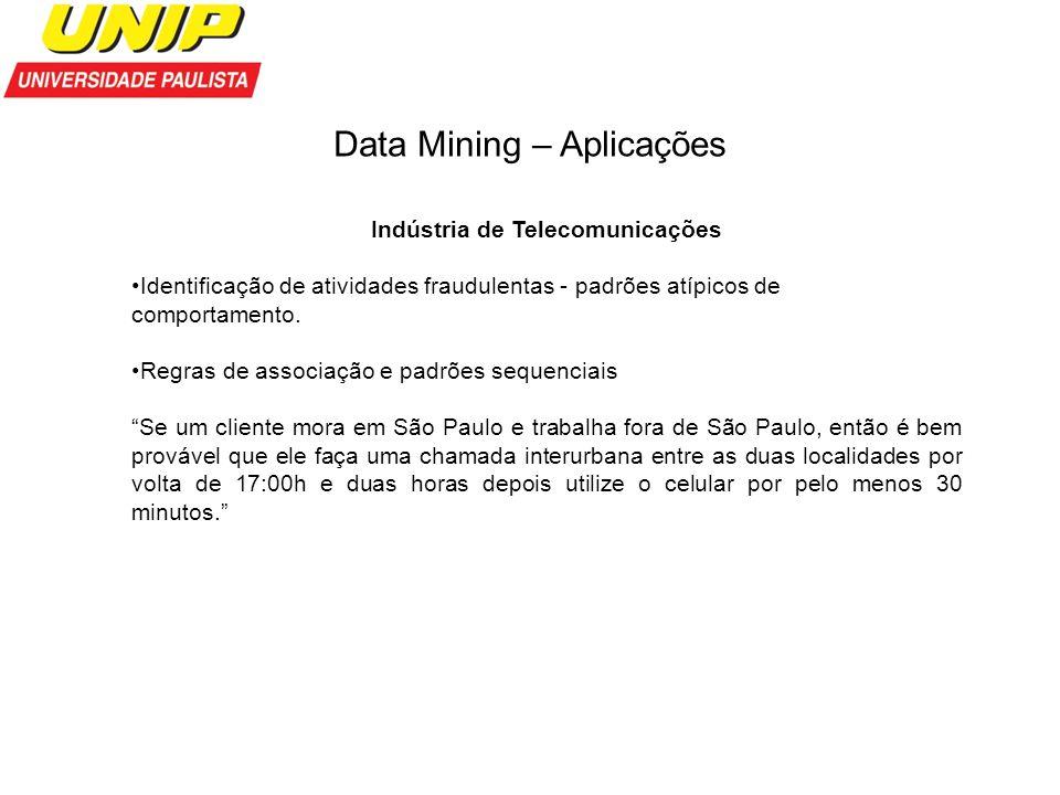 Data Mining – Aplicações Indústria de Telecomunicações Identificação de atividades fraudulentas - padrões atípicos de comportamento. Regras de associa