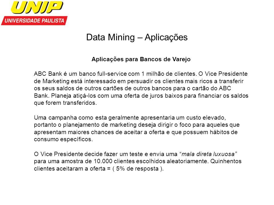 Data Mining – Aplicações Aplicações para Bancos de Varejo ABC Bank é um banco full-service com 1 milhão de clientes. O Vice Presidente de Marketing es