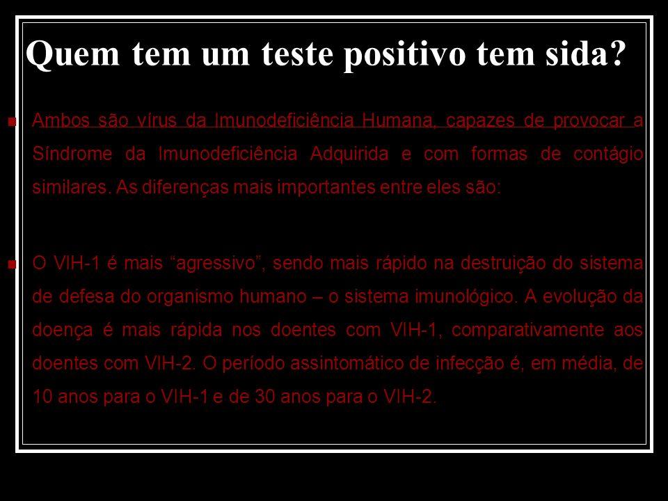 Quem tem um teste positivo tem sida.