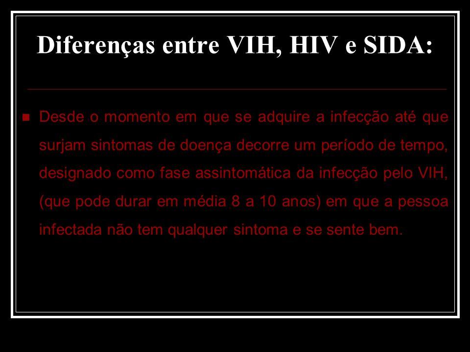 Diferenças entre VIH, HIV e SIDA: Desde o momento em que se adquire a infecção até que surjam sintomas de doença decorre um período de tempo, designado como fase assintomática da infecção pelo VIH, (que pode durar em média 8 a 10 anos) em que a pessoa infectada não tem qualquer sintoma e se sente bem.