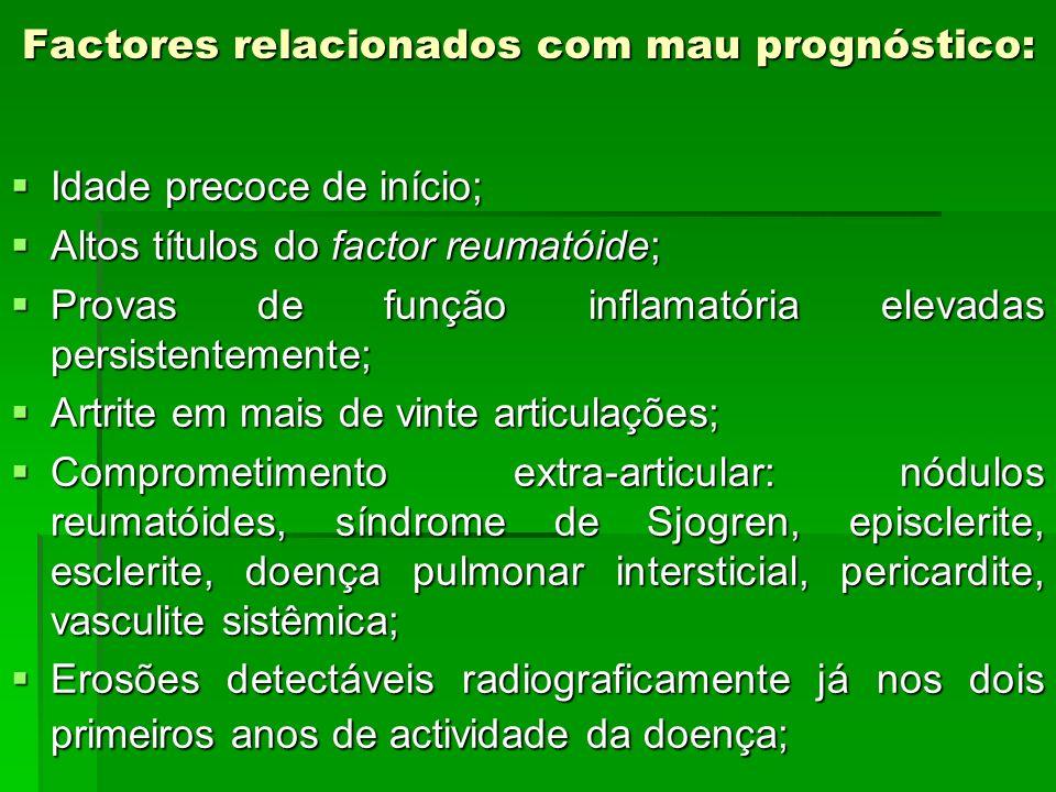 Factores relacionados com mau prognóstico: Idade precoce de início; Idade precoce de início; Altos títulos do factor reumatóide; Altos títulos do fact